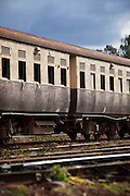 Old train passenger carriages at the railway museum in Nairobi, Kenya. The railway is rich with history, and integral in the development of the country after being colonised by the British in the 19th century