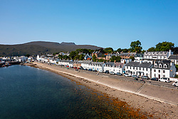 View  of row of whitewashed terraced row of houses in Ullapool, Ross and Cromarty, Highland Region, Scotland, Uk