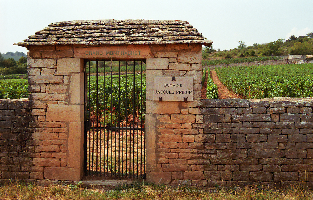 Le Grand Montrachet, Domaine Jacques Prieur, Duverget, Taboureau. An iron gate and stone wall.