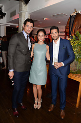 Left to right, DAVID GANDY, CARA SANTANA and JESSE METCALFE at the Men's Health, Oliver Spencer & Liberty Party held at Liberty, Regent Street, London on 17th June 2013.