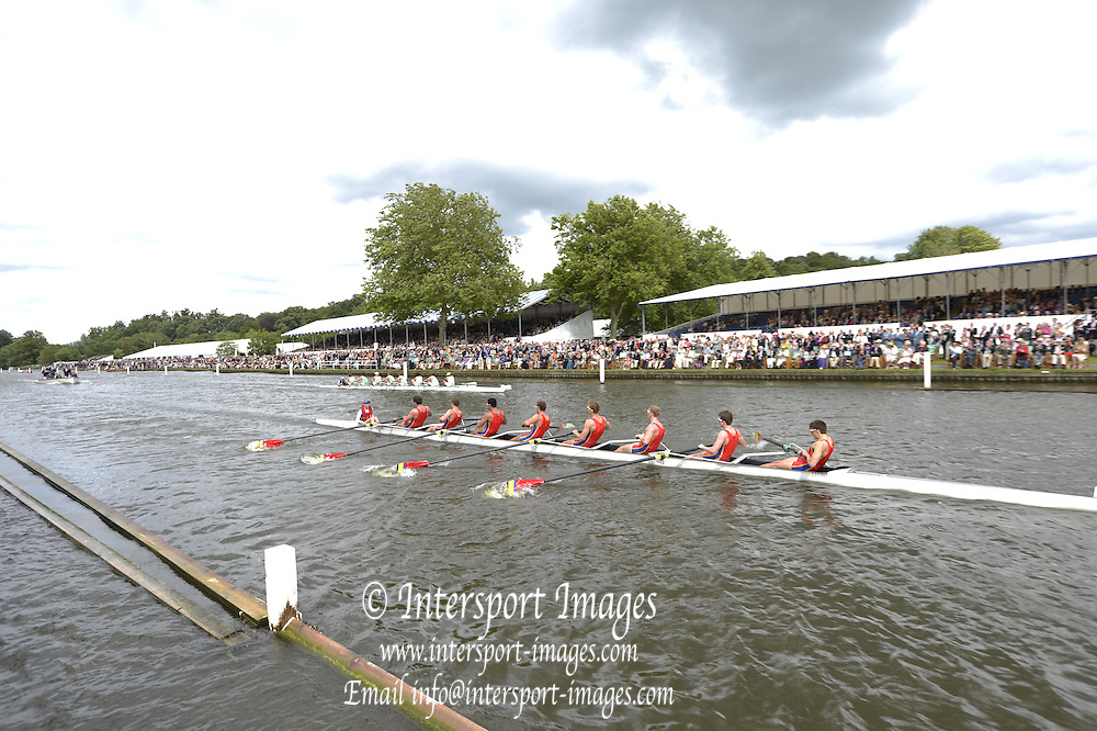 Henley, GREAT BRITAIN.  Princess Elizabeth Challenge Cup .  Scotch College AUS. lead Eton College, during their Friday heat.  2012 Henley Royal Regatta. ..Friday  17:27:06  29/06/2012. [Mandatory Credit, Peter Spurrier/Intersport-images]...Rowing Courses, Henley Reach, Henley, ENGLAND . HRR.