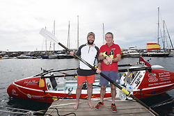 ©under licence to London News Pictures 01/021/16 Gran Canaria, Spain.  James Ketchell & Anthony Ward Thomas depart from Puerto de Mogán in their hybrid pedal/row and kite powered craft with the intention of crossing the Atlantic to Antigua nearly 3000 miles away . They hope to raise over £100,000 for two children's charities . Picture: Ian Homer  / LNP
