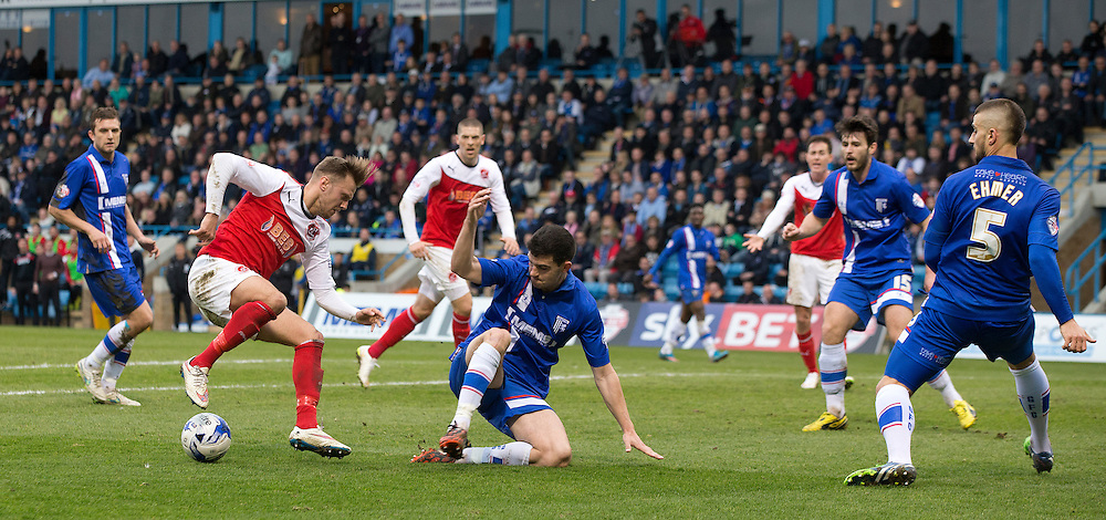 Fleetwood Town's David Ball torments the Gillingham defence in the first half<br /> <br /> Photographer Stephen White/CameraSport<br /> <br /> Football - The Football League Sky Bet League One - Gillingham v Fleetwood Town -  Friday 3rd April 2015 - MEMS Priestfield Stadium - Gillingham<br /> <br /> © CameraSport - 43 Linden Ave. Countesthorpe. Leicester. England. LE8 5PG - Tel: +44 (0) 116 277 4147 - admin@camerasport.com - www.camerasport.com
