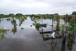 Allotments flooded after torrential rain caused flooding in Oxford and the Thames Valley area; July 2007,