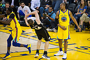 Golden State Warriors forward David West (3) fouls Milwaukee Bucks center Tyler Zeller (44) at Oracle Arena in Oakland, Calif., on March 29, 2018. (Stan Olszewski/Special to S.F. Examiner)