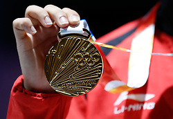 BUENOS AIRES, Oct. 10. 2018  Manu Bhaker of India shows her gold medal during the awarding ceremony of the women's 10m air pistol event at the 2018 Summer Youth Olympic Games in Buenos Aires, Argentina on Oct. 9, 2018. (Credit Image: © Xinhua via ZUMA Wire)