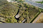 Nederland, Noord-Holland, Muiden, 20-04-2015; terrein van de voormalige kruitfabriek, wordt ontwikkeld tot landelijk woongebied. KNSF Vastgoed, bestemmingsplan De Krijgsman.<br /> Site of the former gunpowder factory, is being developed into rural residential area.<br /> luchtfoto (toeslag), aerial photo (additional fee required); copyright foto/photo Siebe Swart.