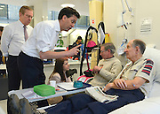 © Licensed to London News Pictures. 24/01/2013. London, UK  Ed Miliband shakes hands with Ray Barnes. Leader of the Labour Party, Ed Miliband, Shadow Health Secretary Andy Burnham and Shadow Health Minister Liz Kendall visit the Macmillan Cancer Centre at University College Hospital in Central London today, 24 January 2013. Today the Labour Party launched its Whole Person Care policy review. Photo credit : Stephen Simpson/LNP