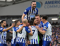 Football - 2019 / 2020 Premier League - Brighton & Hove Albion vs. AFC Bournemouth<br /> <br /> Alireza Jahanbakhsh of Brighton celebrates scoring his first half goal with Shane Duffy (top), at The Amex.<br /> <br /> COLORSPORT/ANDREW COWIE