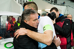 Tomaz Kavcic, head coach of Slovenia hugging Bostjan Cesar of Slovenia after he played his last 5 min minutes in a National team during friendly football match between National teams of Slovenia and Belarus, on March 27, 2018 in SRC Stozice, Ljubljana, Slovenia. Photo by Vid Ponikvar / Sportida