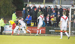 Albion Rover's Ross C Stewart scoring their goal. Albion Rover 1 v 2 Airdrie, Scottish League 1 game played 5/11/2016 at Cliftonhill.