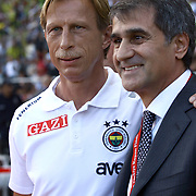 Trabzonspor's coach Senol GUNES (R) and Fenerbahce's coach Christoph DAUM (L) during their Turkey Cup final match Trabzonspor between Fenerbahce at the GAP Arena Stadium at Urfa Turkey on wednesday, 05 May 2010. Photo by TURKPIX