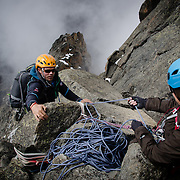 Pete McBride is belayed by Kim Havell on the North Face Standard Route on Mount Kenya.