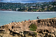 Tourists on Coast Walk Trail at La Jolla Cave