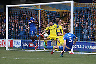 AFC Wimbledon defender Jon Meades (3) scoring goal to make it 2-1 during the EFL Sky Bet League 1 match between AFC Wimbledon and Oxford United at the Cherry Red Records Stadium, Kingston, England on 10 March 2018. Picture by Matthew Redman.