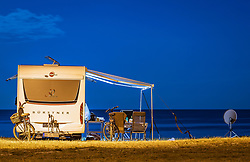 THEMENBILD - ein Wohnmobil in der Nacht am Campingplatz, aufgenommen am 27. Juni 2018 in Pula, Kroatien // a camper at night at the campsite, Pula, Croatia on 2018/06/27. EXPA Pictures © 2018, PhotoCredit: EXPA/ JFK