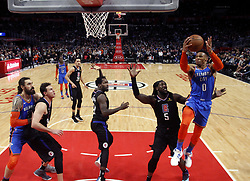 March 8, 2019 - Los Angeles, California, U.S - Oklahoma City Thunder's Russell Westbrook (0) goes to basket during an NBA basketball game between Los Angeles Clippers and Oklahoma City Thunder Friday, March 8, 2019, in Los Angeles. (Credit Image: © Ringo Chiu/ZUMA Wire)