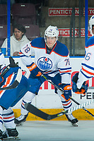 PENTICTON, CANADA - SEPTEMBER 9: Dmitri Samorukov #78 of Edmonton Oilers looks for the pass against the Winnipeg Jets on September 9, 2017 at the South Okanagan Event Centre in Penticton, British Columbia, Canada.  (Photo by Marissa Baecker/Shoot the Breeze)  *** Local Caption ***