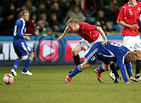 Fotball , 01. april 2009 , Privatkamp , Norge - Finland<br /> Norway - Finland 3-2<br /> Christian Grindheim  , Norge  Mikael Forssel , Finland