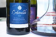 decanter and wine bottle l'astrolabe cdr villages laudun domaine duseigneur rhone france
