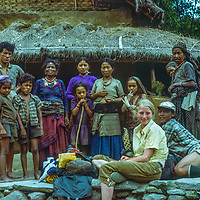 Villagers stare in wonder at one of the first trekkers around Annapurna in Nepal.