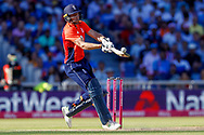 England T20 wicket keeper Jos Butler with a ramp shot  during the International T20 match between England and India at Old Trafford, Manchester, England on 3 July 2018. Picture by Simon Davies.