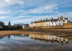 View of historic row of houses in Anstruther fishing village in East Neuk of Fife in Scotland, United Kingdom