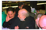 CHARLES SAATCHI; RICHARD HAMILTON, Howard Hodgkin dinner given after opening at  Anthony D'Offay. River Cafe. London. 11 November 1999,<br /> <br /> SUPPLIED FOR ONE-TIME USE ONLY> DO NOT ARCHIVE. © Copyright Photograph by Dafydd Jones 248 Clapham Rd.  London SW90PZ Tel 020 7820 0771 www.dafjones.com