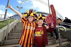 Bradford City fans outside the stadium before the Sky Bet League One play off final at Wembley Stadium, London.