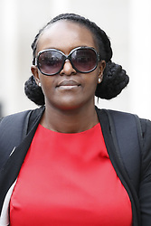 © Licensed to London News Pictures. 06/08/2019. London, UK. Former Labour Member of Parliament Fiona Onasanya arrives at the Solicitors Disciplinary Tribunal in London. Ms Onasanya, a commercial property specialist lawyer, is charged with failing to uphold the proper administration of justice, failing to act with integrity and failing to behave in a way that maintains the trust the public places in her and the provision of legal services. Photo credit: Peter Macdiarmid/LNP