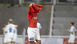 Frederik Alves Ibsen (Silkeborg IF) græmmer sig efter FC Helsingørs scoromg til 4-2 under kampen i 1. Division mellem FC Helsingør og Silkeborg IF den 11. september 2020 på Helsingør Stadion (Foto: Claus Birch).