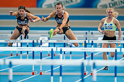 Zoe Sedney, Nadine Visser in action on the 60 meter hurdles during AA Drink Dutch Athletics Championship Indoor on 21 February 2021 in Apeldoorn.