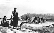 Patagonians at Gregory Bay. From Robert Fitzroy 'Narrative of the Surveying Voyages of His Majesty's Ships Adventure and Beagle' Vol II, London 1839. Fitzroy was captain of the Beagle on the circumnavigation when Charles Darwin acted as scientific adviser.