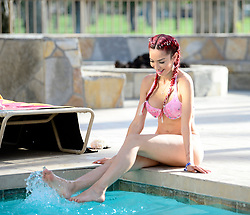 EXCLUSIVE: Farrah Abraham shows off her amazing bikini body as she relaxes at her pool for the 2018 Coachella music festival!. 14 Apr 2018 Pictured: Farrah Abraham. Photo credit: MEGA TheMegaAgency.com +1 888 505 6342