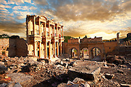 Picture of The library of Celsusat sunrise . Images of the Roman ruins of Ephasus, Turkey. Stock Picture & Photo art prints 2 .<br /> <br /> If you prefer to buy from our ALAMY PHOTO LIBRARY  Collection visit : https://www.alamy.com/portfolio/paul-williams-funkystock/ephesus-celsus-library-turkey.html<br /> <br /> Visit our TURKEY PHOTO COLLECTIONS for more photos to download or buy as wall art prints https://funkystock.photoshelter.com/gallery-collection/3f-Pictures-of-Turkey-Turkey-Photos-Images-Fotos/C0000U.hJWkZxAbg