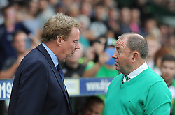 Queen Park Rangers Manager, Harry Redknapp engages in conversation with Yeovil Town Manager, Gary Johnson - Photo mandatory by-line: Alex James/JMP - Tel: Mobile: 07966 386802 21/09/2013 - SPORT - FOOTBALL - Huish Park - Yeovil - Yeovil Town V Queens Park Rangers - Sky Bet Championship
