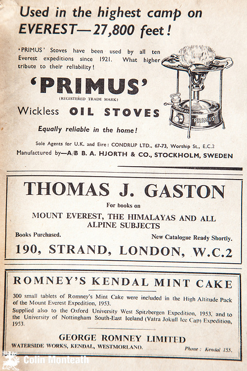 Mount Everest 1953 British first ascent advert - primus stoves , Kendall mint cakes