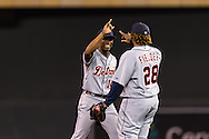 Austin Jackson (14) and Prince Fielder (28) of the Detroit Tigers celebrate after the Tigers defeated the Minnesota Twins on August 14, 2012 at Target Field in Minneapolis, Minnesota.  The Tigers defeated the Twins 8 to 4.  Photo: Ben Krause