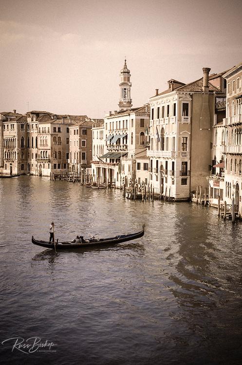 Evening light and gondola on the Grand Canal, Venice, Veneto, Italy