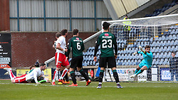 Falkirk's Bob McHugh scoring their second goal. <br /> Raith Rovers 2 v 2 Falkirk, Scottish Championship game played 23/4/2016 at Stark's Park.