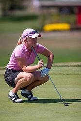 04 Sep 2005<br /> <br /> Amatuer Morgan Pressel eyes up her putt.<br /> <br /> LPGA State Farm Classic.  The Rail Golf Course, Springfield (Sherman) Illinois