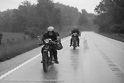 Claudia Ganzaroli of Rimini, Italy riding her 1928 Moto Frera with Sante Mazza right behind on his 1926 Moto Frera during Stage 6 of the Motorcycle Cannonball Cross-Country Endurance Run, which on this day ran from Cape Girardeau to Sedalia, MO., USA. Wednesday, September 10, 2014.  Photography ©2014 Michael Lichter.
