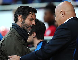 Watford Manager, Enrique Sanchez Flores is greeted by Cardiff City Manager, Russell Slade  - Mandatory by-line: Joe Meredith/JMP - 07966386802 - 28/07/2015 - SPORT - FOOTBALL - Cardiff,Wales - Cardiff City Stadium - Cardiff City v Watford - Pre-Season Friendly