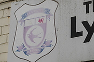 A worn out Cardiff City FC badge on the outside of a closed pub on what would normally be a busy match day prior to the Cardiff City vs Leeds United EFL Championship match at the Cardiff City Stadium, Cardiff, Wales on 21 June 2020.