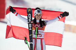 February 17, 2018 - Pyeongchang, South Korea - Silver medal winner ANNA VEITH of Austria during the venue podium ceremony for Alpine Skiing: Ladies' Super-G at Jeongseon Alpine Centre during the 2018 Pyeongchang Winter Olympic Games. (Credit Image: © Daniel A. Anderson via ZUMA Wire)