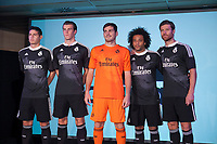James Rodriguez, Gareth Bale, Iker Casillas, Marcelo and Xabi Alonso pose for the photographers during the presentation of the Real Madrid's new Champions League kit at the Santiago Bernabeu stadium in Madrid, Spain. May 26, 2013. (ALTERPHOTOS/Victor Blanco)