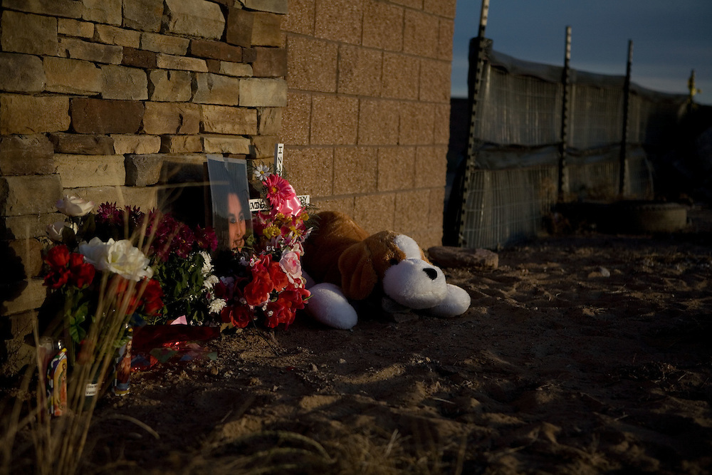 Photo by Steven St. John..A memorial in honor Gina Michelle Valdez and Victoria Chavez Monday, March 2, 2009 on the southwestern outskirts of Albuquerque, N.M..Valdez and Chavez are the first two identified victims whose remains were discovered by a hiker on Feb. 2, 2009. Investigators and forensics experts are searching the crime scene where the remains of at least 13 bodies have been uncovered. The discovery has opened up cases involving missing prostitutes, some of whom vanished as much as 20 years ago.
