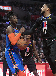March 8, 2019 - Los Angeles, California, United States of America - Garrett Temple #17 of the Los Angeles Clippers tries to block a shot by Jerami Grant #9 of the Oklahoma Thunder during their NBA game on Friday March 8, 2019 at the Staples Center in Los Angeles, California. Clippers defeat Thunder, 118-110.  JAVIER ROJAS/PI (Credit Image: © Prensa Internacional via ZUMA Wire)