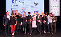 © Licensed to London News Pictures. 26/01/2015. London, England. The winners line up on stage. The Critic's Circle National Dance Awards 2014 take place at The Place in London, UK. Photo credit: Bettina Strenske/LNP