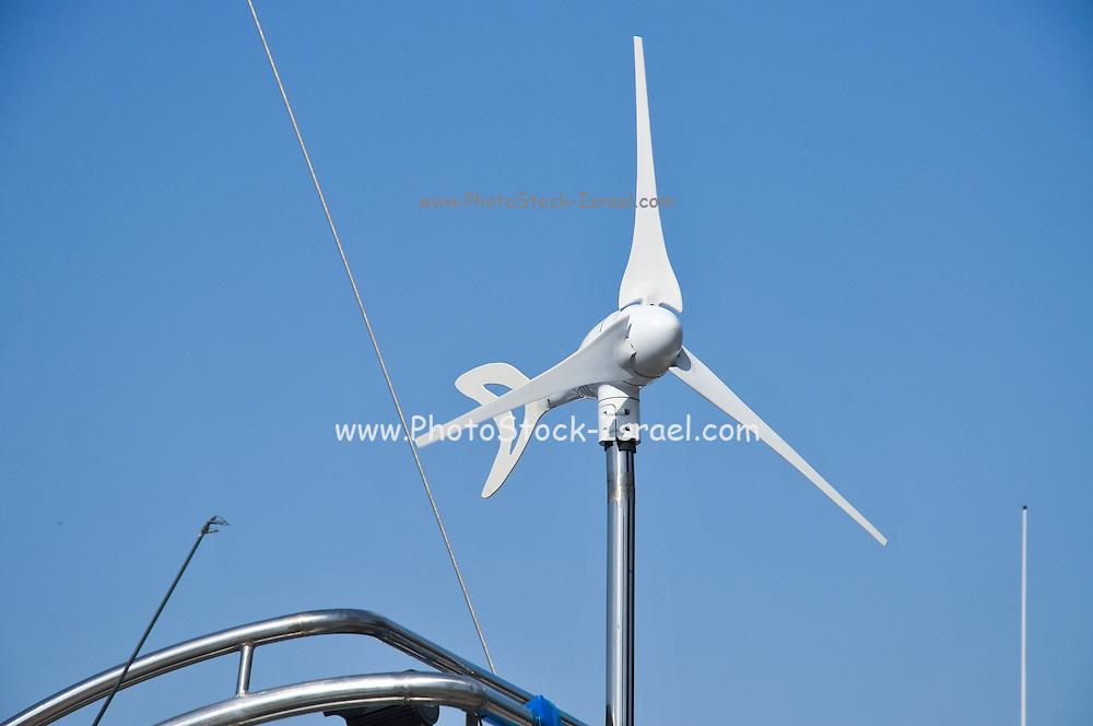 Wind turbine on yacht